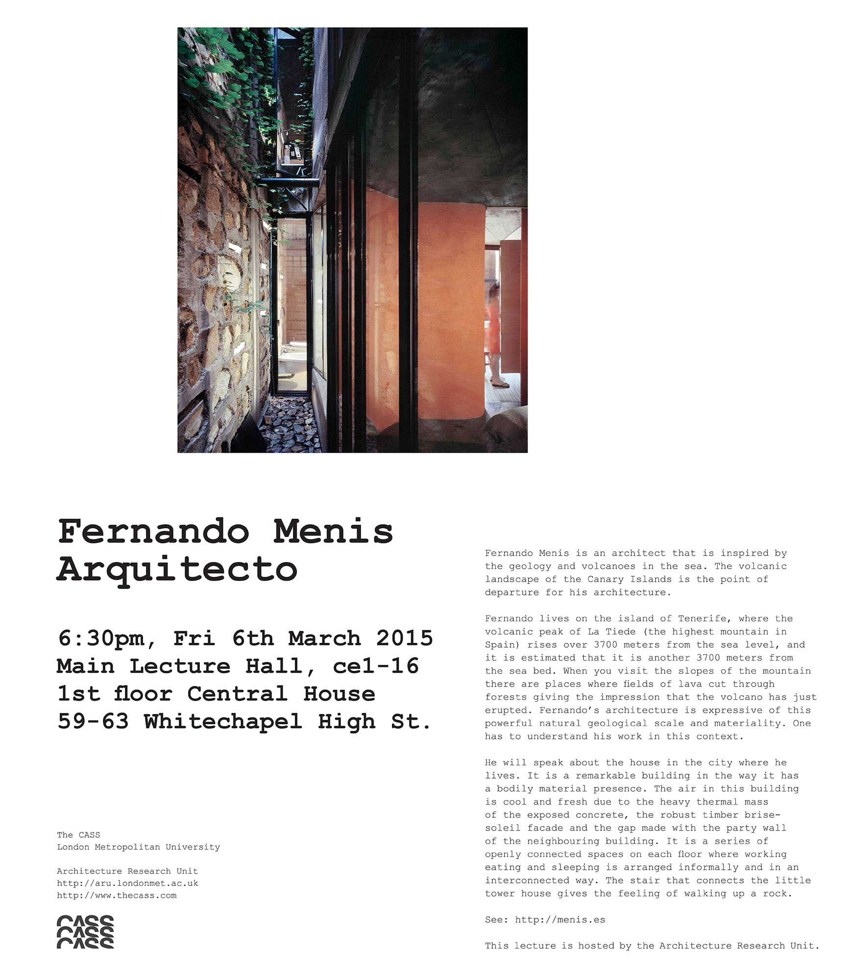 Fernando Menis Lecture at the London Metropolitan University